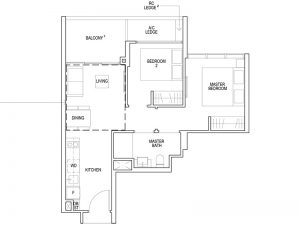 2 BEDROOM TYPE B2 614SQFT
