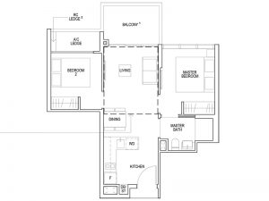 2 BEDROOM TYPE B3 614SQFT