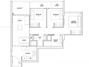 3 BEDROOM - TYPE C1 872SQFT